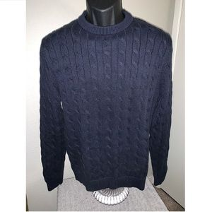 Charles Tyrwhitt Cable Knit Sweater Cotton Blue M